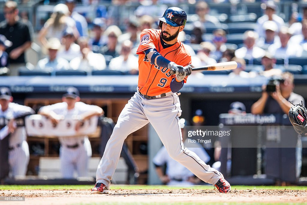 Marwin Gonzalez of the Houston Astros bats during the game against the Houston Astros at Yankee Stadium on August 26 2015 in the Bronx borough of New...