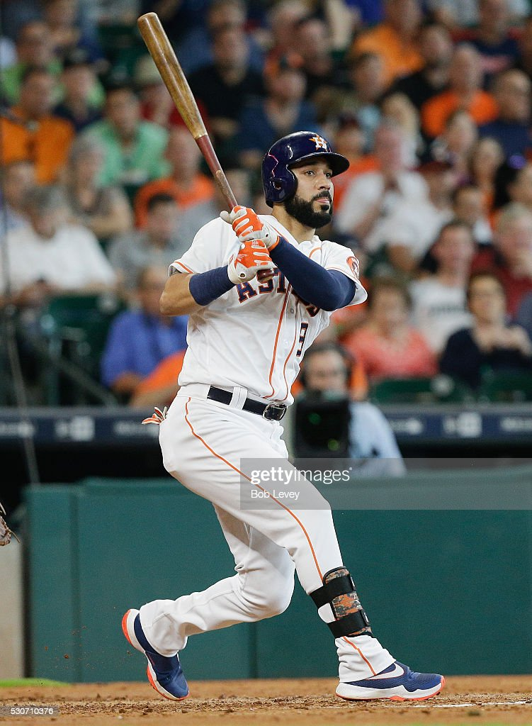 Marwin Gonzalez of the Houston Astros doubles in the third inning against the Cleveland Indians at Minute Maid Park on May 11 2016 in Houston Texas