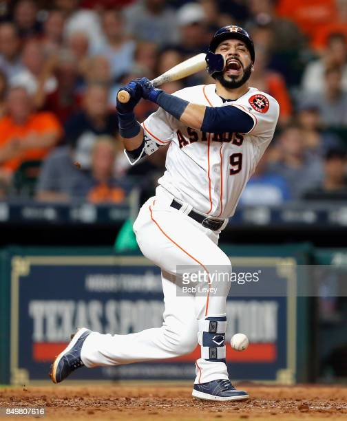 Marwin Gonzalez of the Houston Astros fouls a pitch off his foot in the sixth inning against the Chicago White Sox at Minute Maid Park on September...