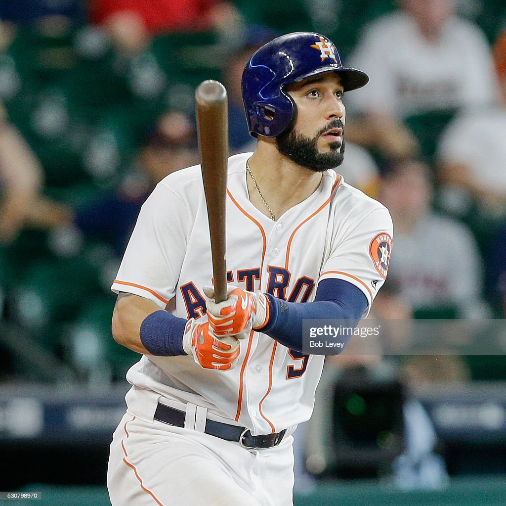 Marwin Gonzalez of the Houston Astros hits a home run in the sixteenth inning to defeat the Cleveland Indians 53 at Minute Maid Park on May 11 2016...