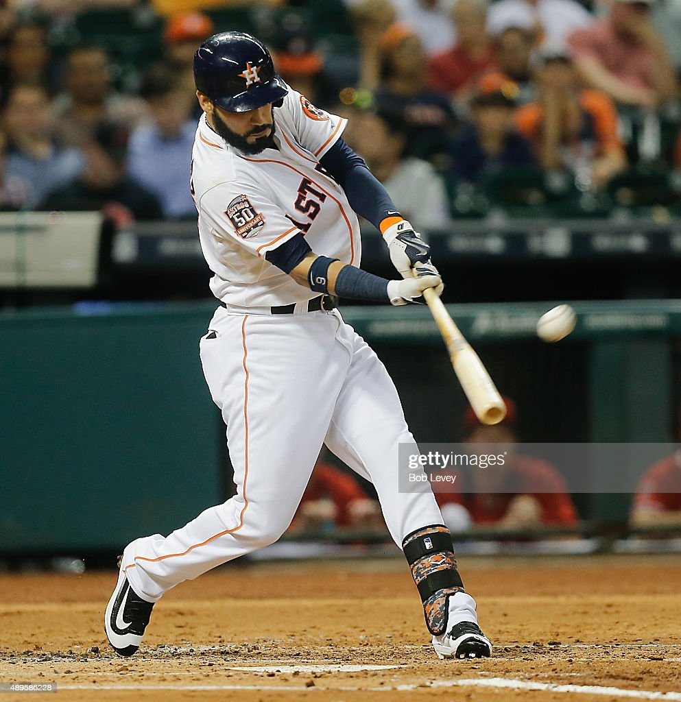 Marwin Gonzalez of the Houston Astros hits a home run in the second inning against the Los Angeles Angels of Anaheim at Minute Maid Park on September...