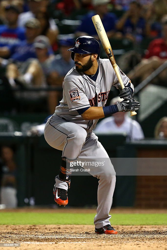 Marwin Gonzalez of the Houston Astros hits a single in the ninth inning during a game against the Texas Rangers at Globe Life Park in Arlington on...