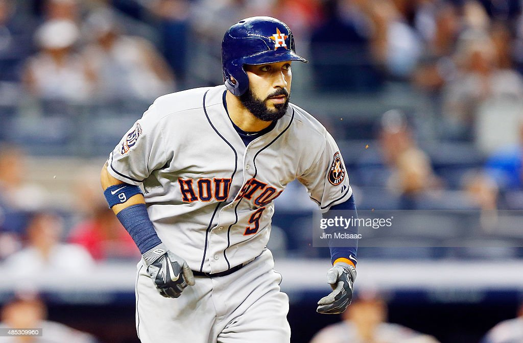Marwin Gonzalez of the Houston Astros in action against the New York Yankees at Yankee Stadium on August 24 2015 in the Bronx borough of New York...