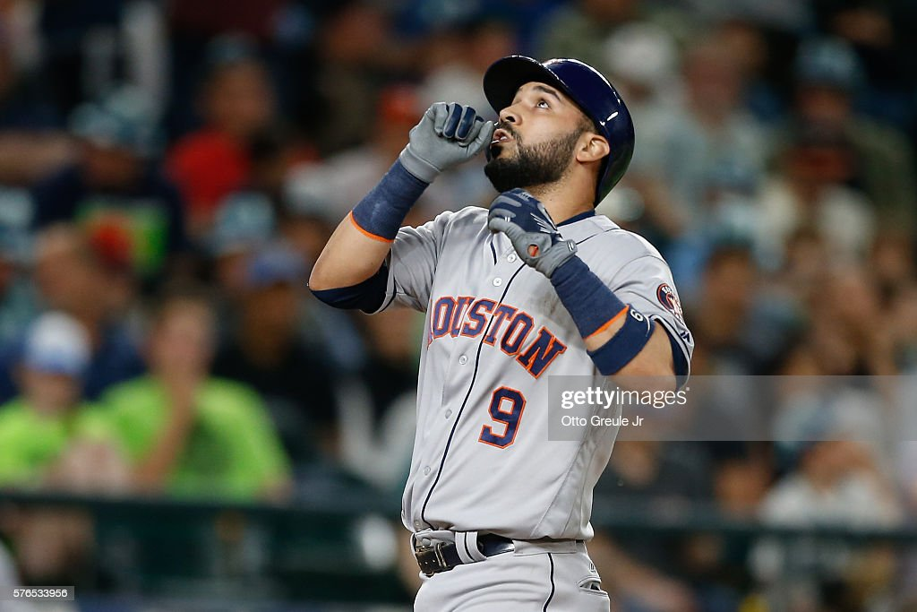 Marwin Gonzalez #9 of the Houston Astros looks skyward as he crosses home plate on a solo homer in the seventh inning against the Seattle Mariners at Safeco Field on July 15, 2016 in Seattle, Washington.
