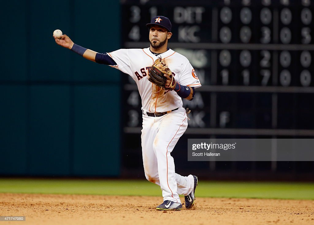 Marwin Gonzalez of the Houston Astros makes a play in the infield during the ninth inning of their game against the Seattle Mariners at Minute Maid...