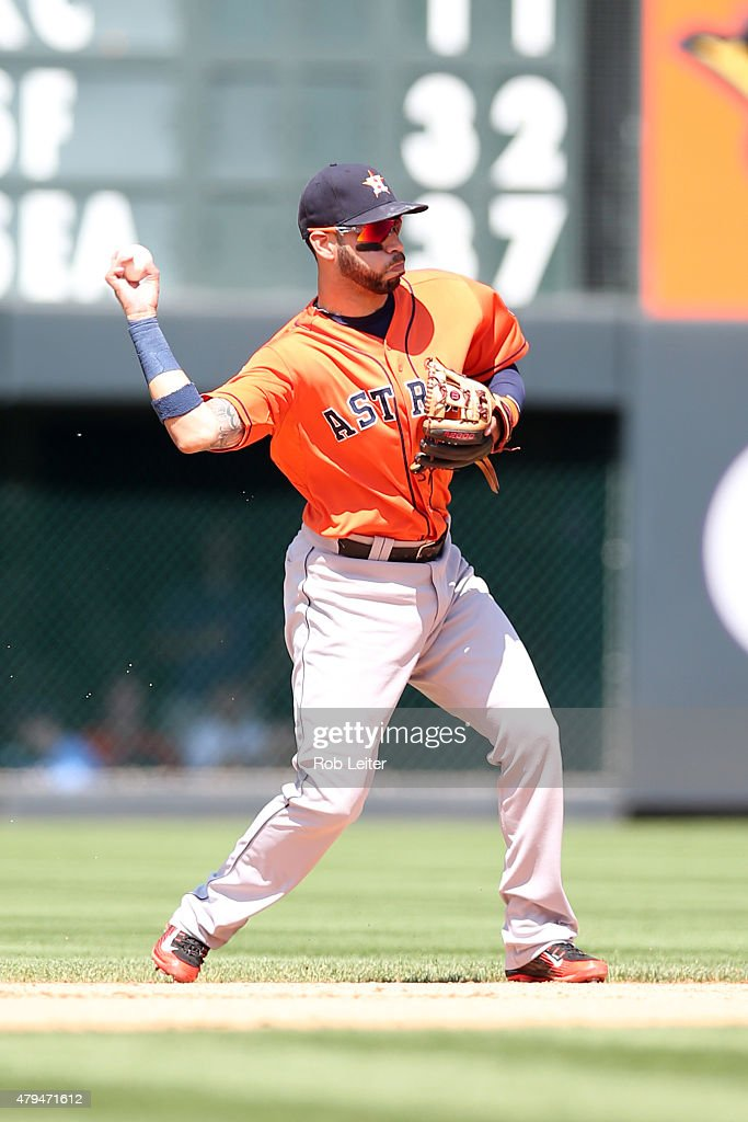 Marwin Gonzalez of the Houston Astros plays second base during the game against the Colorado Rockies at Coors Field on June 18 2015 in Denver...