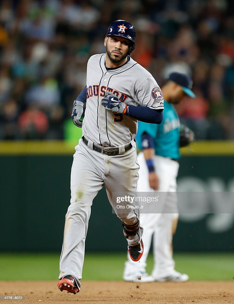 Marwin Gonzalez of the Houston Astros rounds the bases after hitting a home run against the Seattle Mariners in the eighth inning at Safeco Field on...