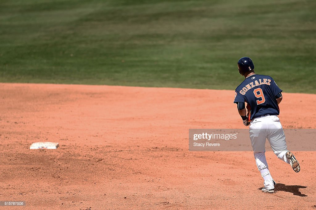 Marwin Gonzalez of the Houston Astros runs the bases following a home run during a spring training game against the Washington Nationals at Osceola...