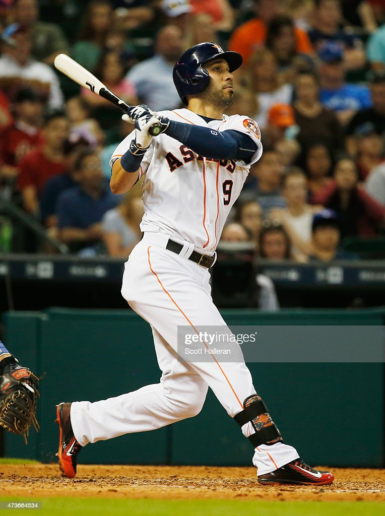 Marwin Gonzalez of the Houston Astros swats a solo home run in the sixth inning during their game against the Toronto Blue Jays at Minute Maid Park...