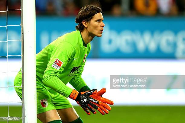 Marwin Hitz keeper of Augsburg looks on during the Bundesliga match between FC Augsburg and SV Werder Bremen at WWK Arena on November 8 2015 in...