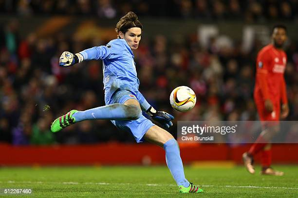 Marwin Hitz of Augsburg in action during the UEFA Europa League Round of 32 second leg match between Liverpool and FC Augsburg at Anfield on February...