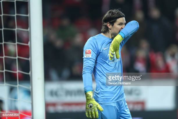 Marwin Hitz of Augsburg reacts during the Bundesliga match between 1 FSV Mainz 05 and FC Augsburg at Opel Arena on February 10 2017 in Mainz Germany