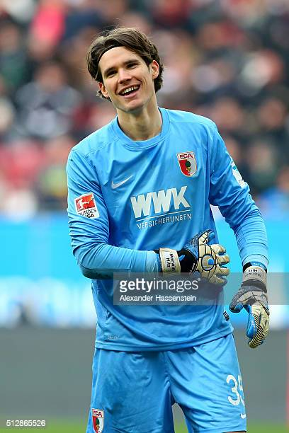 Marwin Hitz of Augsburg reacts during the Bundesliga match between FC Augsburg and Borussia Moenchengladbach at WWK Arena on February 28 2016 in...