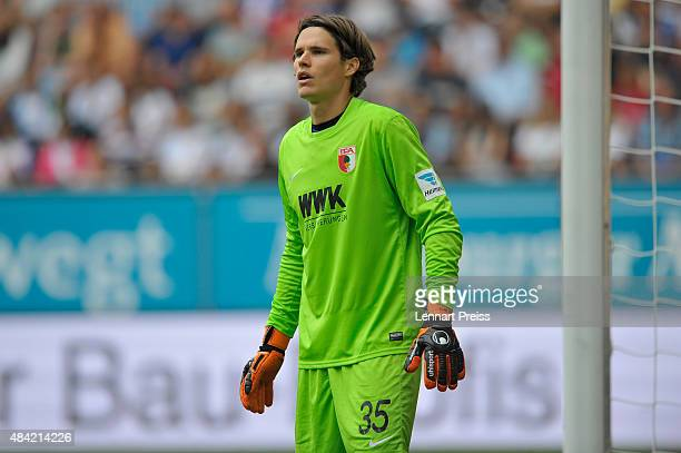 Marwin Hitz of FC Augsburg looks on during the Bundesliga match between FC Augsburg and Hertha BSC at WWKArena on August 15 2015 in Augsburg Germany
