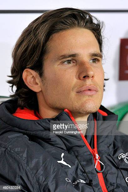 Marwin Hitz of Switzerland looks on from the bench prior to the UEFA EURO 2016 qualifier between Switzerland and San Marino at AFG Arena on October 9...