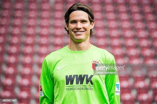 Marwin Hitz poses during the FC Augsburg Team Presentation at WWKArena on July 8 2015 in Augsburg Germany