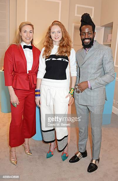 Mary Alice Malone Creative Director of Malone Souliers Lily Cole and Roy Luwolt Managing Director of Malone Souliers attend the Launch of the Malone...