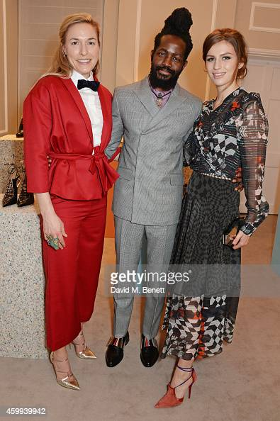 Mary Alice Malone Creative Director of Malone Souliers Roy Luwolt Managing Director of Malone Souliers and Tali Lennox attend the Launch of the...