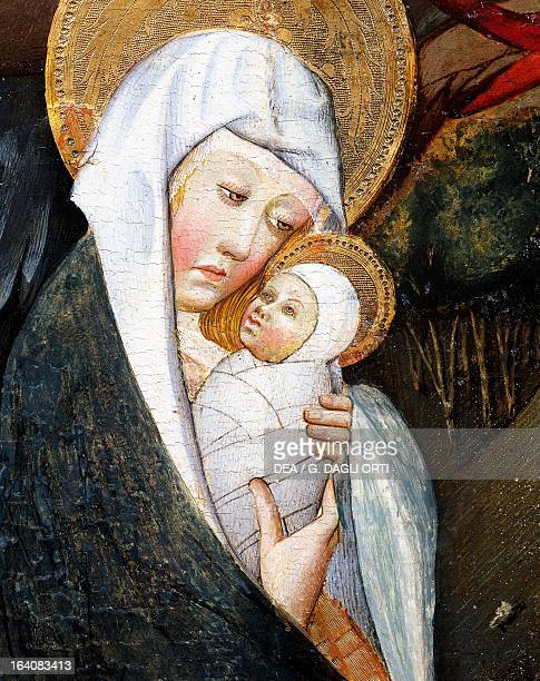 Mary and Child detail from Flight into Egypt altarpiece from Verdu 143234 by Jaume Ferrer II known as The Younger oil on canvas 159x93 cm Vic Museu...