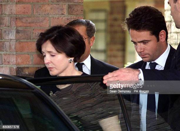 Mary Archer leaves Cambridge Crematorium in Madingley with her son William to get a car following the funeral of her husband's Lord Archer mother...