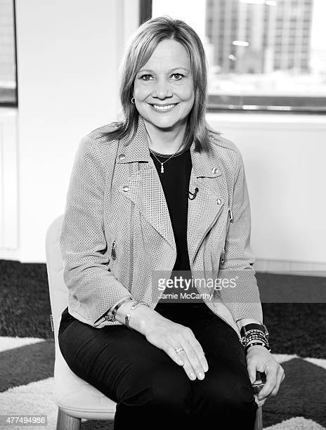 Mary Barra CEO of General Motors poses for a photo after being interviewed by LinkedIn Executive Editor Dan Roth at LinkedIn Studios on June 17 2015...