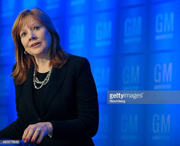 Mary Barra chief executive officer of General Motors Co addresses reporters during a media briefing before the company's annual meeting at their...