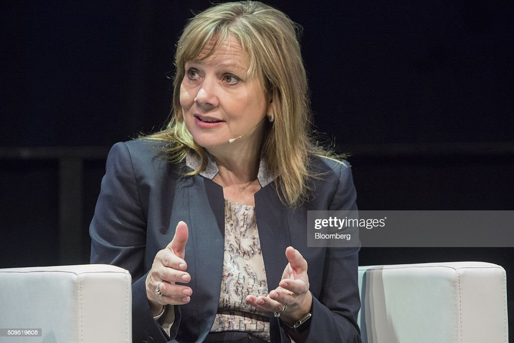 <a gi-track='captionPersonalityLinkClicked' href=/galleries/search?phrase=Mary+Barra&family=editorial&specificpeople=8289073 ng-click='$event.stopPropagation()'>Mary Barra</a>, chief executive officer of General Motors Co. (GM), gestures as she speaks during a panel discussion at the CAR Symposium in Bochum, Germany, on Thursday, Feb. 11, 2016. General Motors Co.'s German brand Opel will introduce its first fully electric car next year as part of a 29-model lineup overhaul, putting pressure on Volkswagen AG as it reels from the diesel-emissions scandal. Photographer: Martin Leissl/Bloomberg via Getty Images