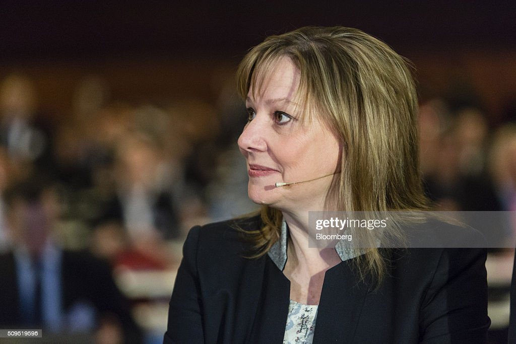 <a gi-track='captionPersonalityLinkClicked' href=/galleries/search?phrase=Mary+Barra&family=editorial&specificpeople=8289073 ng-click='$event.stopPropagation()'>Mary Barra</a>, chief executive officer of General Motors Co. (GM), looks on during the CAR Symposium in Bochum, Germany, on Thursday, Feb. 11, 2016. General Motors Co.'s German brand Opel will introduce its first fully electric car next year as part of a 29-model lineup overhaul, putting pressure on Volkswagen AG as it reels from the diesel-emissions scandal. Photographer: Martin Leissl/Bloomberg via Getty Images