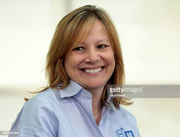 Mary Barra chief executive officer of General Motors Co smiles during the UAWGM 2015 Negotiations Kickoff at the UAWGM Center for Human Resources in...