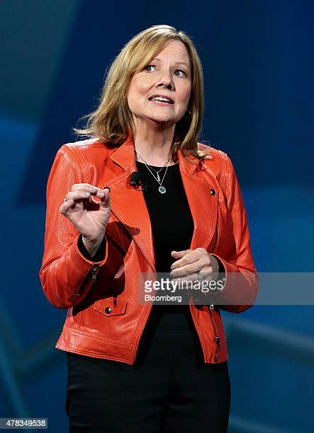 Mary Barra chief executive officer of General Motors Co speaks after unveiling the GM Chevrolet Cruze during an event at the Fillmore Theater in...