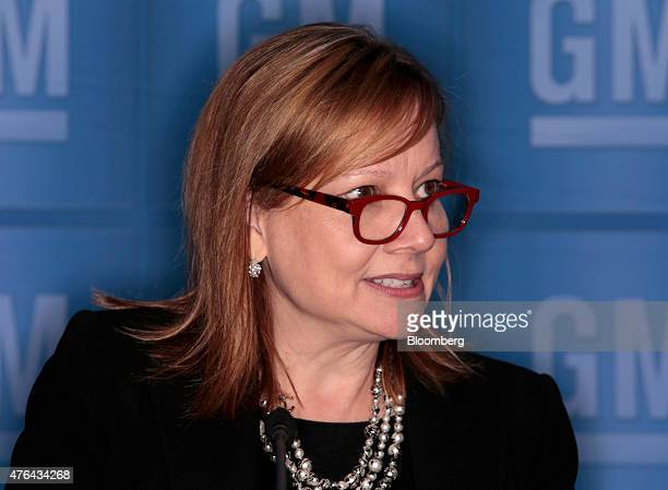 Mary Barra chief executive officer of General Motors Co speaks during a news conference prior to the company's annual shareholders meeting in Detroit...