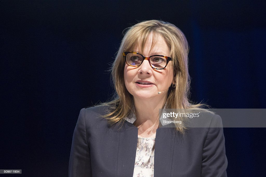 Mary Barra, chief executive officer of General Motors Co. (GM), speaks during the CAR Symposium in Bochum, Germany, on Thursday, Feb. 11, 2016. General Motors Co.'s German brand Opel will introduce its first fully electric car next year as part of a 29-model lineup overhaul, putting pressure on Volkswagen AG as it reels from the diesel-emissions scandal. Photographer: Martin Leissl/Bloomberg via Getty Images