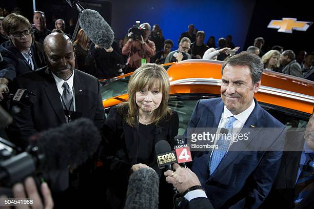 Mary Barra chief executive officer of General Motors Co speaks to the media during a Chevrolet event during the 2016 North American International...