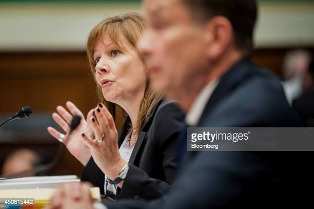 Mary Barra chief executive officer of General Motors Co testifies at a US House Subcommittee on Oversight and Investigations hearing in Washington DC...