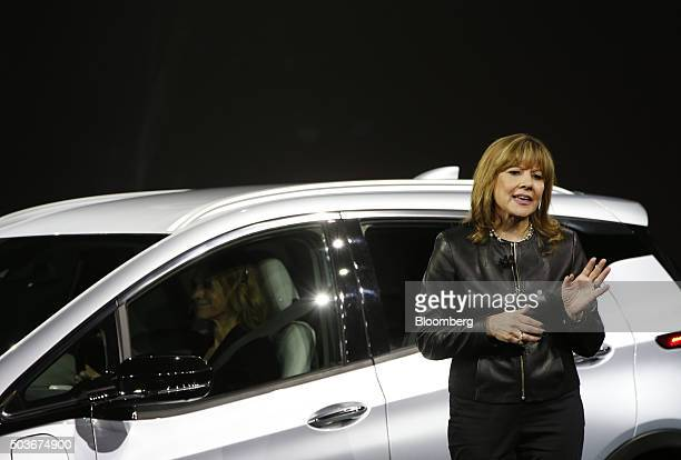 Mary Barra chief executive officer of General Motors Co unveils the Chevrolet Bolt electric vehicle during the 2016 Consumer Electronics Show in Las...