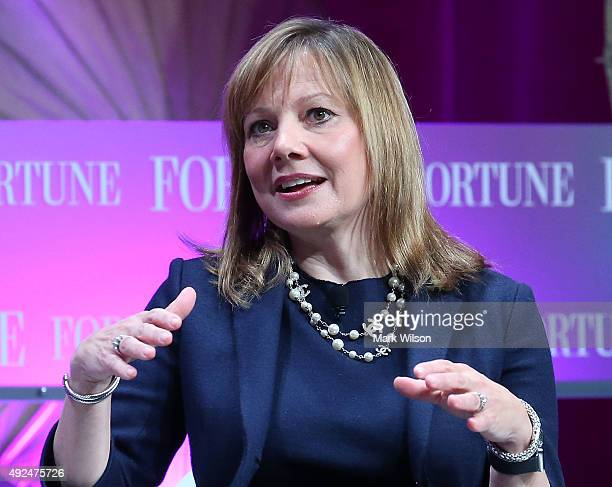 Mary Barra Chief Executive Officer of the General Motors Company speaks during the FortuneÊsummit onÊÒThe Most Powerful WomenÓ at theÊMandarin Hotel...