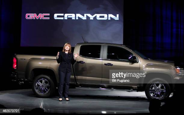Mary Barra General Motors Senior Vice President of Global Product Development and GM CEOelect introduces the allnew 2015 GMC Canyon midsize truck at...