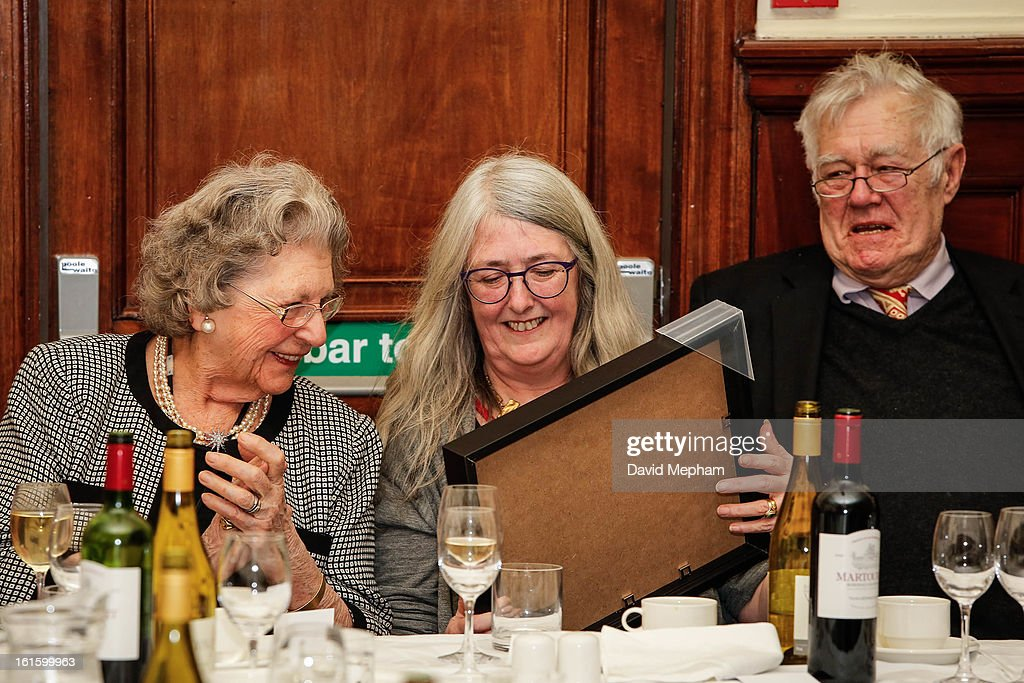 Mary Beard (C) and Richard Ingrams attend the Oldie of the Year Awards at Simpsons in the Strand on February 12, 2013 in London, England.