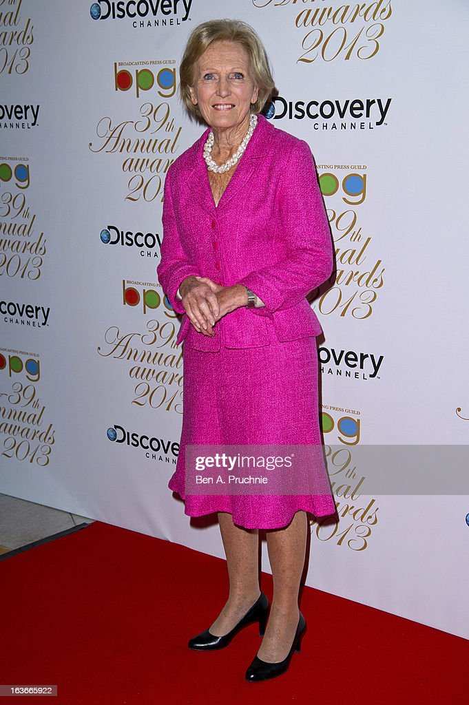 <a gi-track='captionPersonalityLinkClicked' href=/galleries/search?phrase=Mary+Berry+-+Writer+and+Television+Personality&family=editorial&specificpeople=4003164 ng-click='$event.stopPropagation()'>Mary Berry</a> attends the Broadcasting Press Guild TV and Radio awards on March 14, 2013 in London, England.