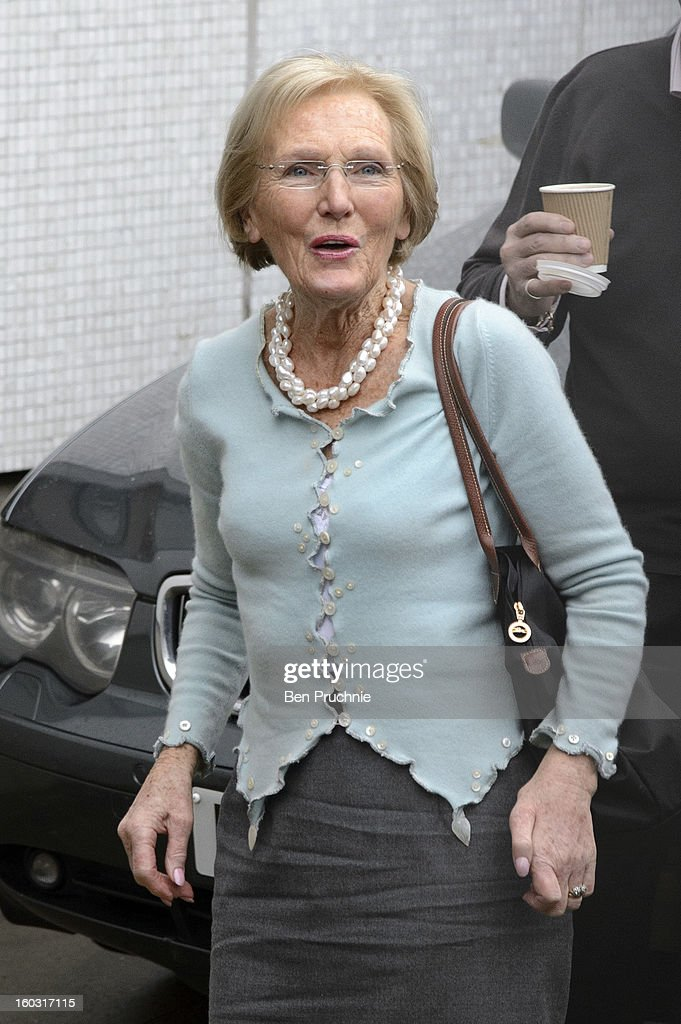 <a gi-track='captionPersonalityLinkClicked' href=/galleries/search?phrase=Mary+Berry+-+Writer+and+Television+Personality&family=editorial&specificpeople=4003164 ng-click='$event.stopPropagation()'>Mary Berry</a> sighted arriving at ITV Studios on January 29, 2013 in London, England.