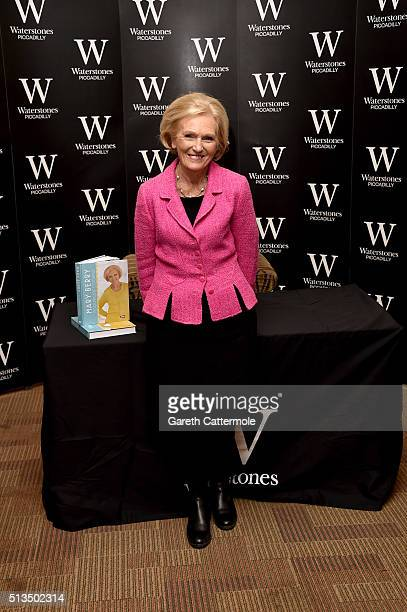 Mary Berry signs copies of her new cook book 'Foolproof Cooking' which accompanies her current BBC series at Waterstones Piccadilly on March 3 2016...