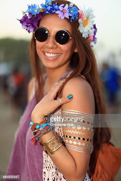 Mary Beth Forteza of Los Angeles wearing Urban Outfitters and Tilly's attends day 2 of the 2014 Coachella Valley Music Arts Festival at the Empire...