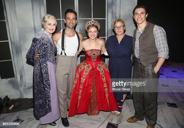 Mary Beth Peil as 'Empress Maria' Ramin Karimloo as Gleb Christy Altomare as 'Anya' Patricia Arquette and Derek Klena as 'Dmitry' pose backstage at...