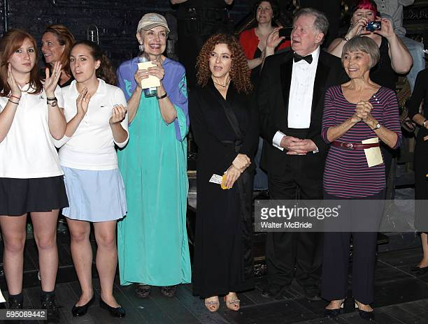 Mary Beth Peil Bernadette Peters Harvey Evans Susan Watson Company attending the Opening Night Gypsy Robe Ceremony for 'Follies' Recepient Jennifer...