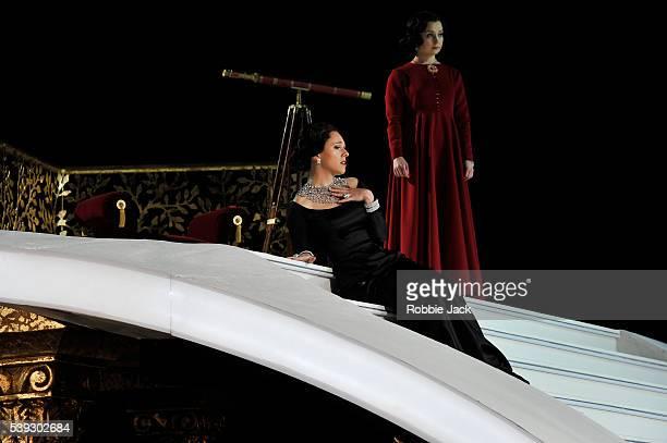 Mary Bevan as Elvira and Katie Bray as Zulma in Garsington Opera's production of Gioachino Rossini's L'Italiana in Algeri directed by Will Tuckett...
