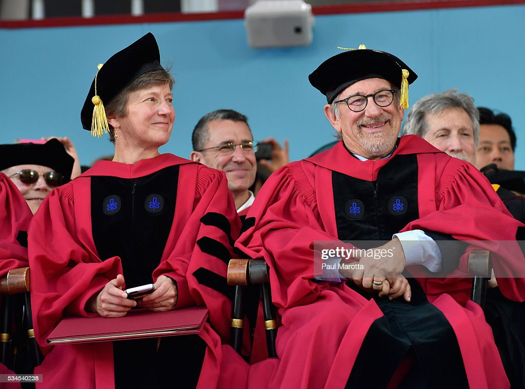 Mary Bonauto receives an Honorary Doctor of Laws Degree and <a gi-track='captionPersonalityLinkClicked' href=/galleries/search?phrase=Steven+Spielberg&family=editorial&specificpeople=202022 ng-click='$event.stopPropagation()'>Steven Spielberg</a> receives an Honorary Doctor of Arts Degree from Harvard University at their 365th Commencement Exerices at Harvard University on May 26, 2016 in Cambridge, Massachusetts.
