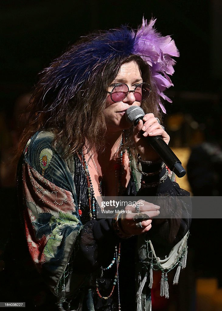 Mary Bridget Davies performing at the opening night Curtain Call for 'A Night With Janis Joplin' at the Lyceum Theatre on October 10, 2013 in New York City.