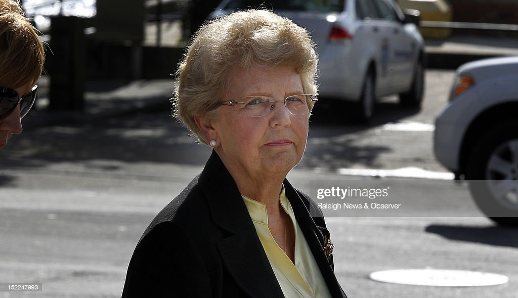 Mary Britt, ex-wife of Jimmy Britt, a deputy U.S. marshal when the case was originally tried, leaves the Federal Courthouse in Wilmington, North Carolina, Monday, September 17, 2012 after testifying. Britt, who has since died, gave a statement to defense attorneys in 2005 that he heard prosecutor Jim Blackburn threaten Helena Stoeckley, a troubled local woman whom MacDonald had identified as one of the attackers. Jeffrey MacDonald, a former Fort Bragg Army officers and doctor, was convicted in 1979 of murdering his wife and two young daughters in 1970. The hearing could determine whether MacDonald could receive a new trial, decades after he was convicted of killing his family.