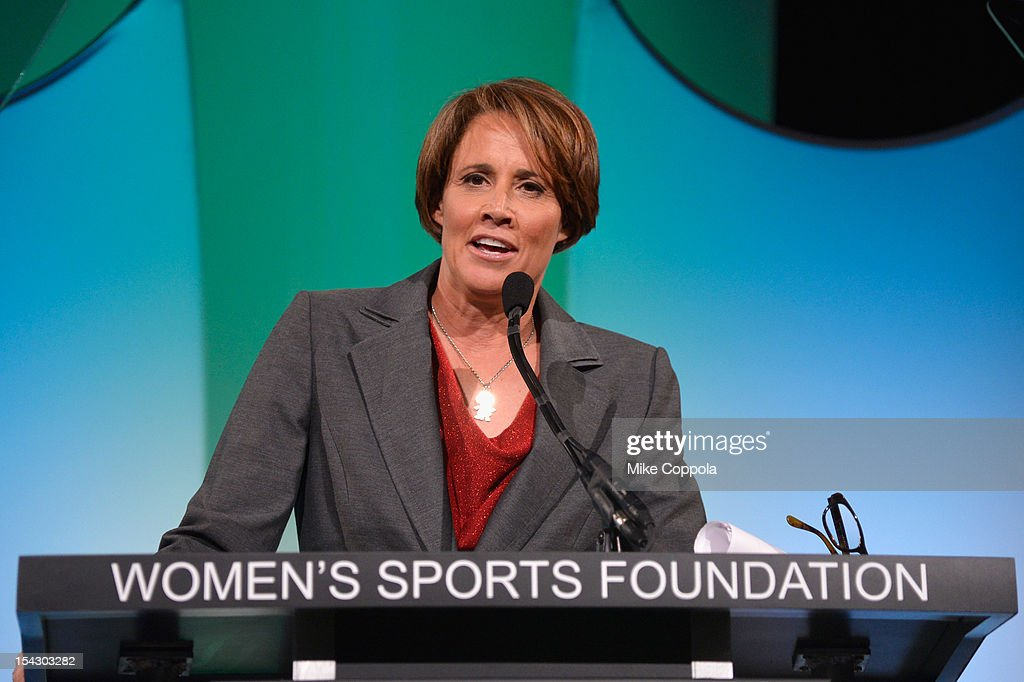 Mary Carillo speaks onstage at the 33rd Annual Salute To Women In Sports Gala post reception at Cipriani Wall Street on October 17 2012 in New York...