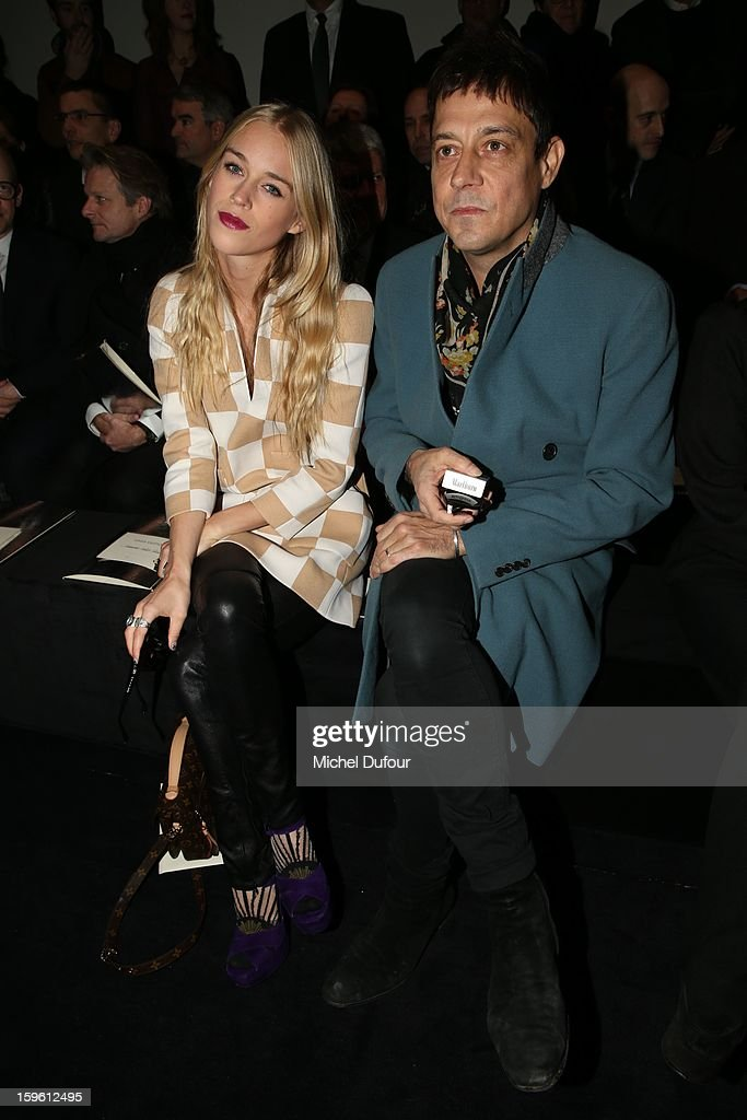 Mary Charteris and Jamie Hince attend the Louis Vuitton Men Autumn / Winter 2013 show as part of Paris Fashion Week on January 17, 2013 in Paris, France.